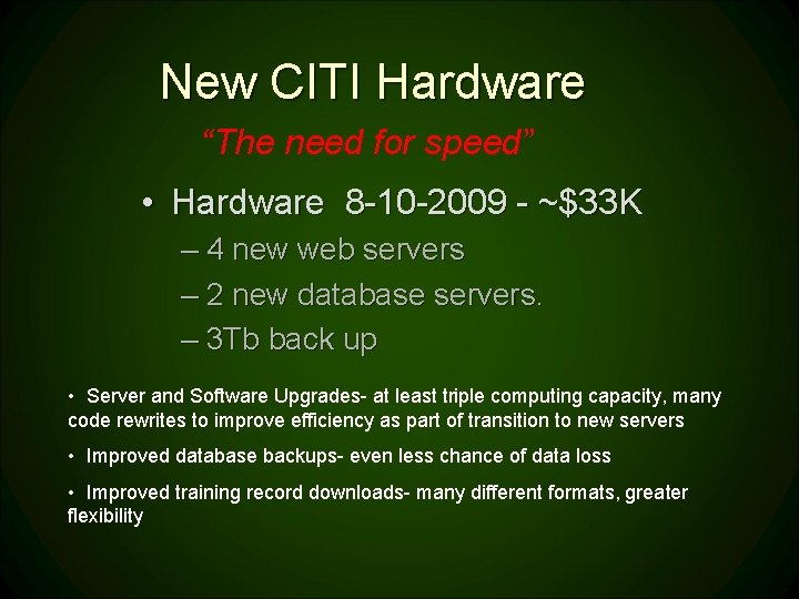 """New CITI Hardware """"The need for speed"""" • Hardware 8 -10 -2009 - ~$33"""