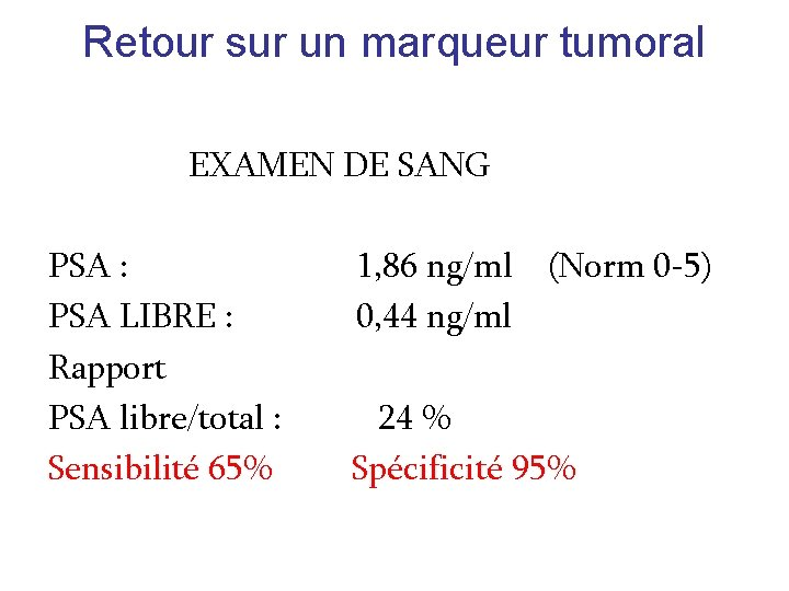 Retour sur un marqueur tumoral EXAMEN DE SANG PSA : PSA LIBRE : Rapport
