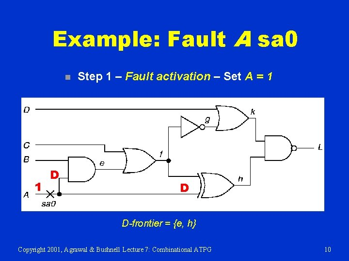 Example: Fault A sa 0 n 1 D Step 1 – Fault activation –