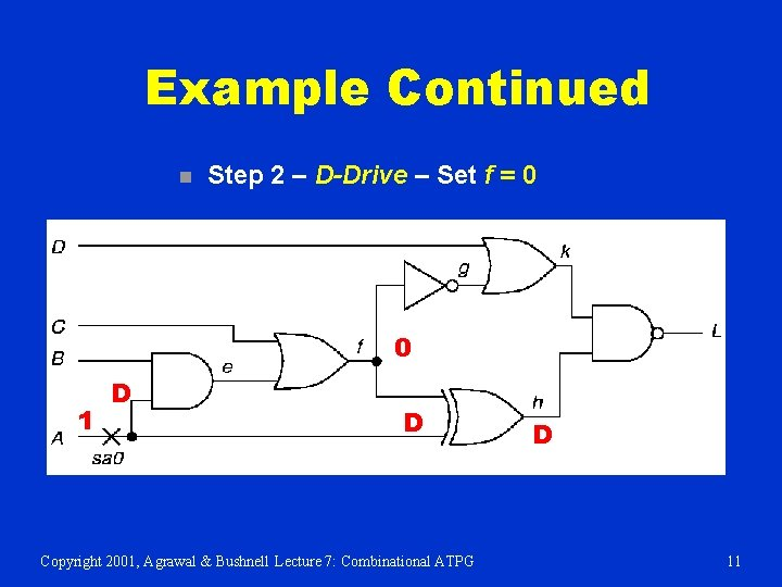 Example Continued n Step 2 – D-Drive – Set f = 0 0 1