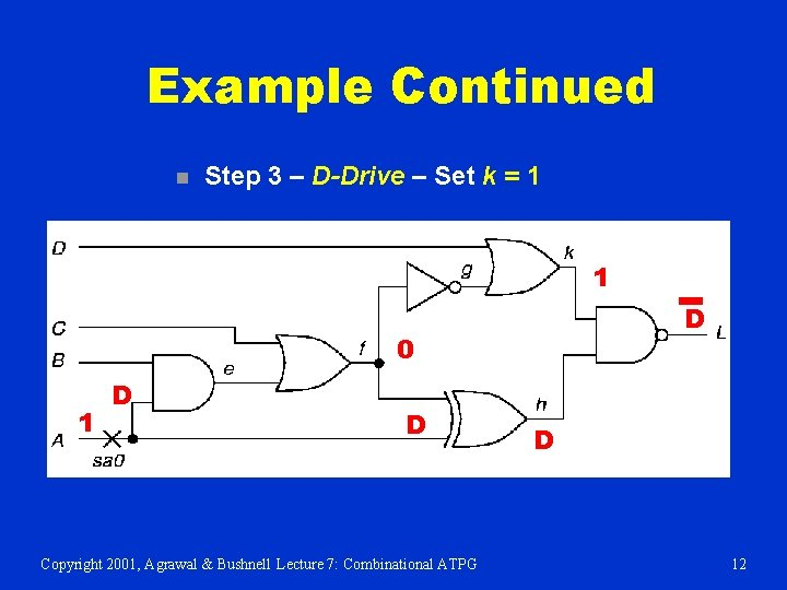 Example Continued n Step 3 – D-Drive – Set k = 1 1 D