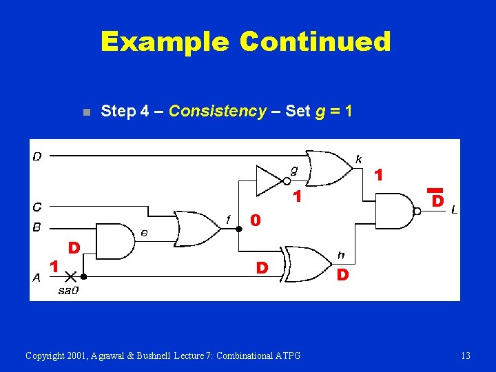 Example Continued n Step 4 – Consistency – Set g = 1 1 1