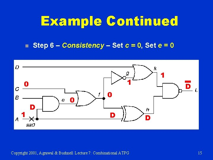 Example Continued n Step 6 – Consistency – Set c = 0, Set e
