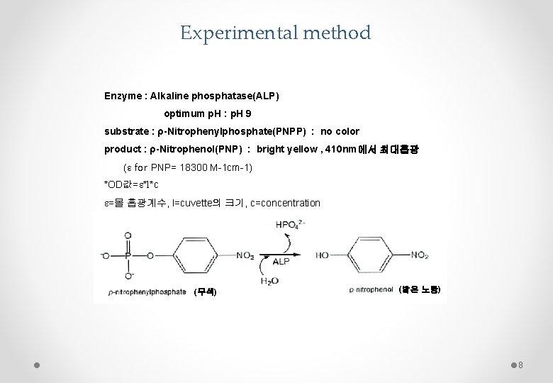 Experimental method Enzyme : Alkaline phosphatase(ALP) optimum p. H : p. H 9 substrate
