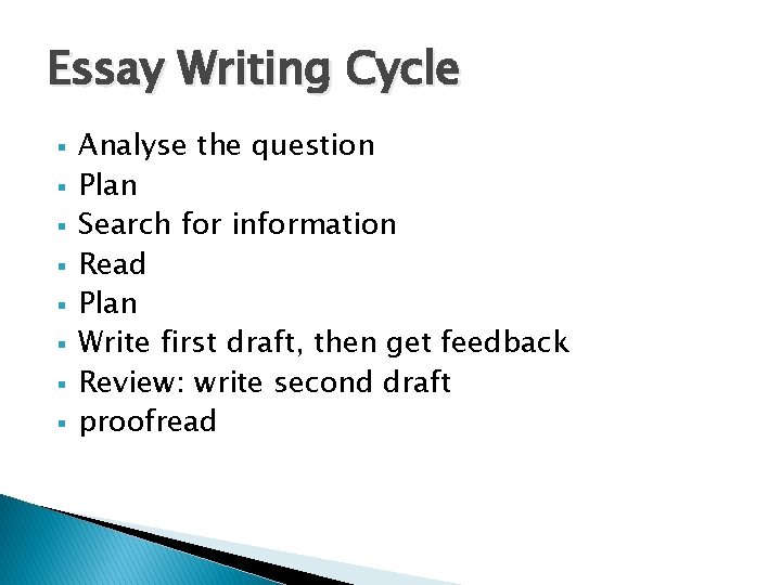 Essay Writing Cycle § § § § Analyse the question Plan Search for information