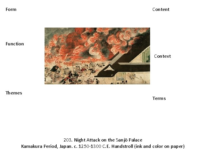 Form Content Function Context Themes Terms 203. Night Attack on the Sanjō Palace Kamakura
