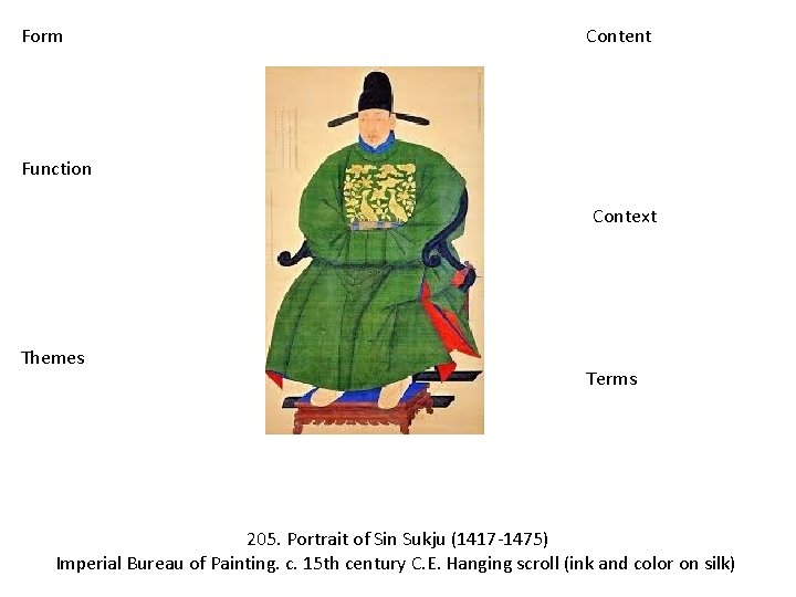 Form Content Function Context Themes Terms 205. Portrait of Sin Sukju (1417 -1475) Imperial