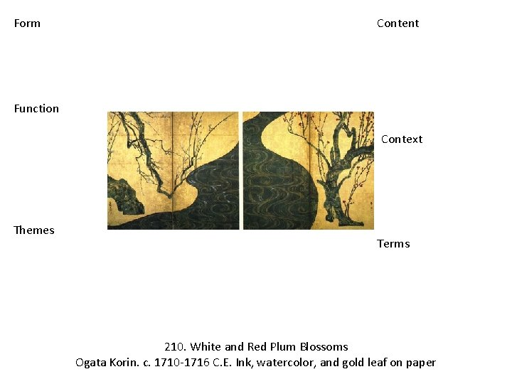 Form Content Function Context Themes Terms 210. White and Red Plum Blossoms Ogata Korin.