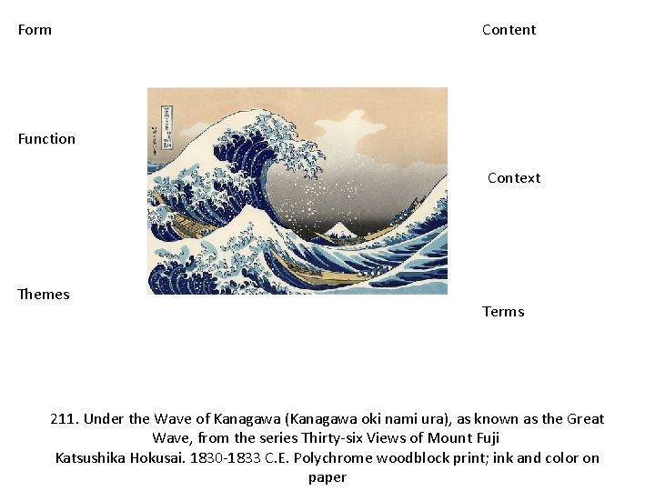 Form Content Function Context Themes Terms 211. Under the Wave of Kanagawa (Kanagawa oki