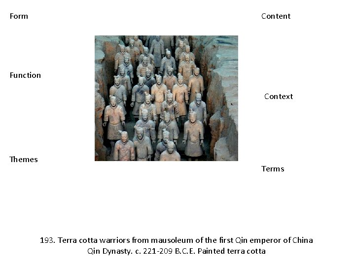 Form Content Function Context Themes Terms 193. Terra cotta warriors from mausoleum of the
