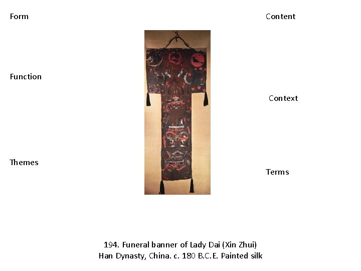 Form Content Function Context Themes Terms 194. Funeral banner of Lady Dai (Xin Zhui)