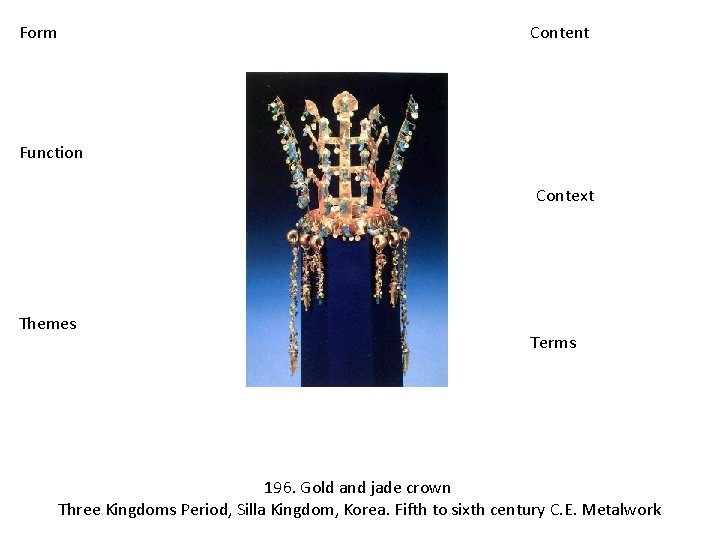 Form Content Function Context Themes Terms 196. Gold and jade crown Three Kingdoms Period,