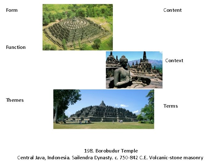 Form Content Function Context Themes Terms 198. Borobudur Temple Central Java, Indonesia. Sailendra Dynasty.