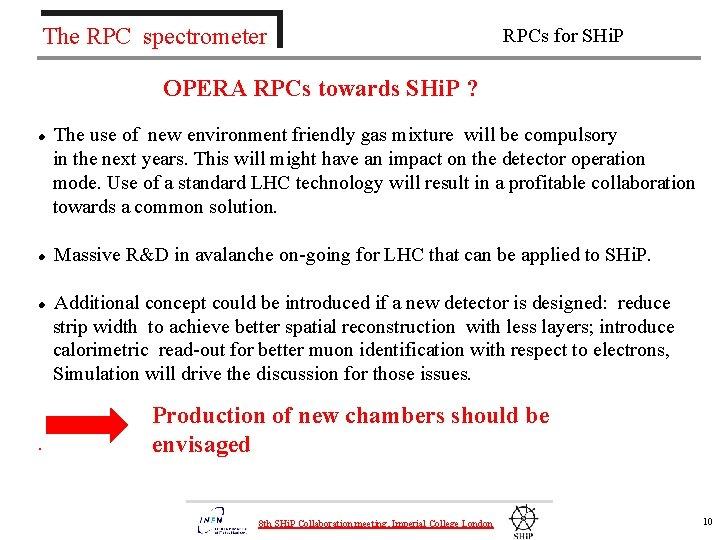 The RPC spectrometer RPCs for SHi. P OPERA RPCs towards SHi. P ? The