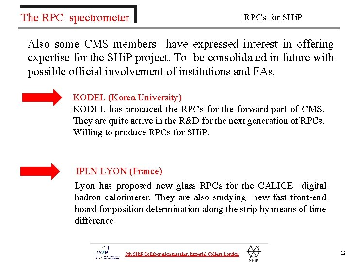 The RPC spectrometer RPCs for SHi. P Also some CMS members have expressed interest
