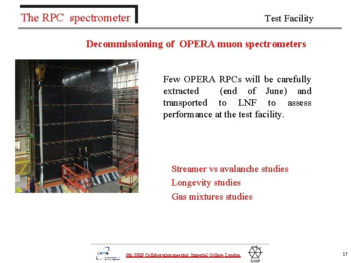 The RPC spectrometer Test Facility Decommissioning of OPERA muon spectrometers Few OPERA RPCs will