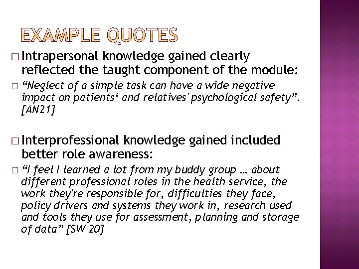 """� Intrapersonal knowledge gained clearly reflected the taught component of the module: � """"Neglect"""