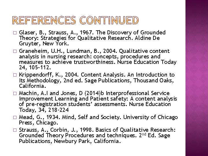 � � � Glaser, B. , Strauss, A. , 1967. The Discovery of Grounded