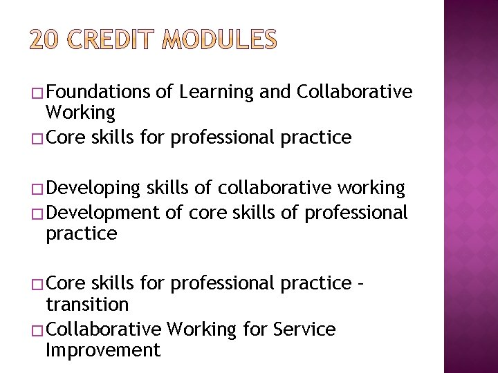 � Foundations of Learning and Collaborative Working � Core skills for professional practice �