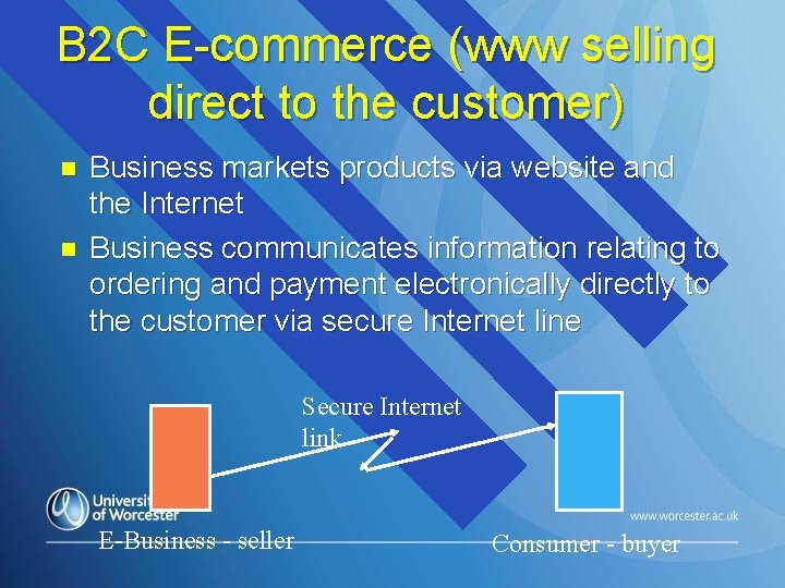 B 2 C E-commerce (www selling direct to the customer) n n Business markets