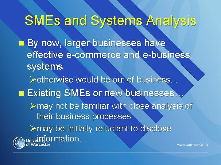SMEs and Systems Analysis n By now, larger businesses have effective e-commerce and e-business