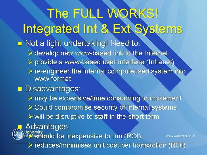 The FULL WORKS! Integrated Int & Ext Systems n Not a light undertaking! Need