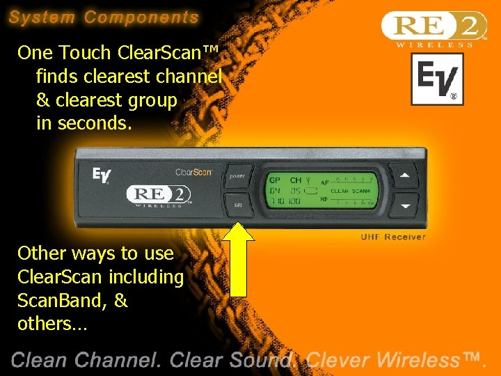 One Touch Clear. Scan™ finds clearest channel & clearest group in seconds. Other ways