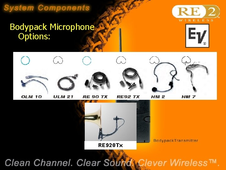 Bodypack Microphone Options: RE 920 Tx Wireless Basics 102 8/06/04