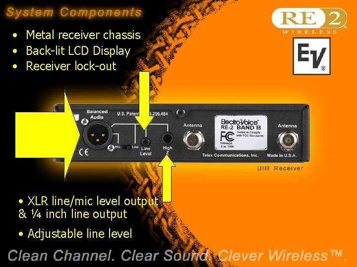 • Metal receiver chassis • Back-lit LCD Display • Receiver lock-out • XLR