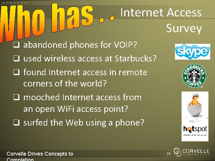 Internet Access Survey q abandoned phones for VOIP? q used wireless access at Starbucks?