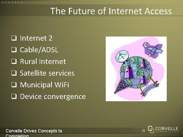 The Future of Internet Access q Internet 2 q Cable/ADSL q Rural Internet q