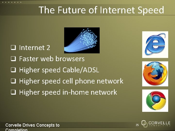 The Future of Internet Speed q Internet 2 q Faster web browsers q Higher