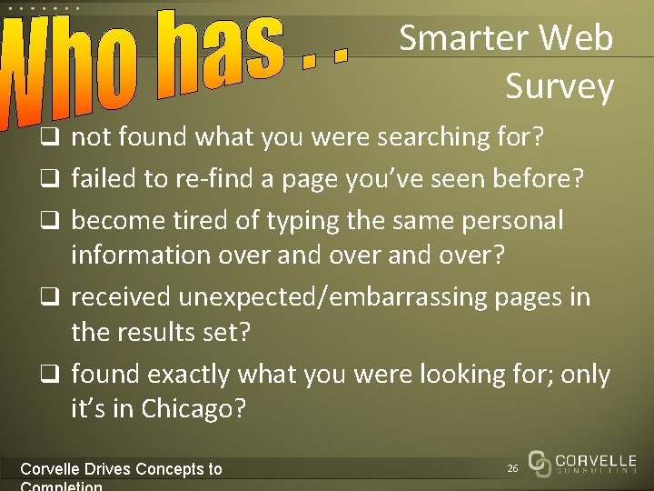 Smarter Web Survey q not found what you were searching for? q failed to