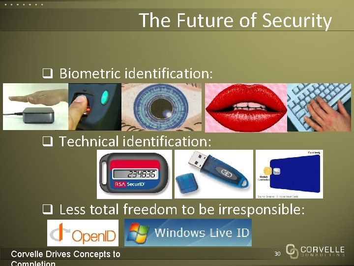 The Future of Security q Biometric identification: q Technical identification: q Less total freedom