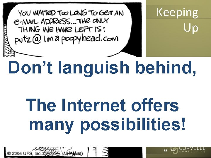 Keeping Up Don't languish behind, The Internet offers many possibilities! Corvelle Drives Concepts to