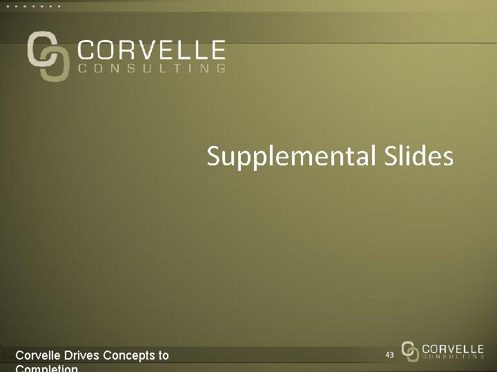 Supplemental Slides Corvelle Drives Concepts to 43