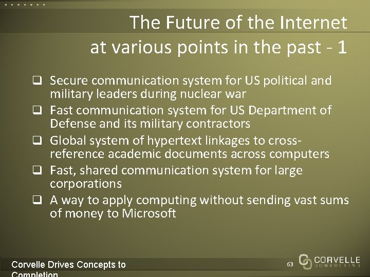 The Future of the Internet at various points in the past - 1 q