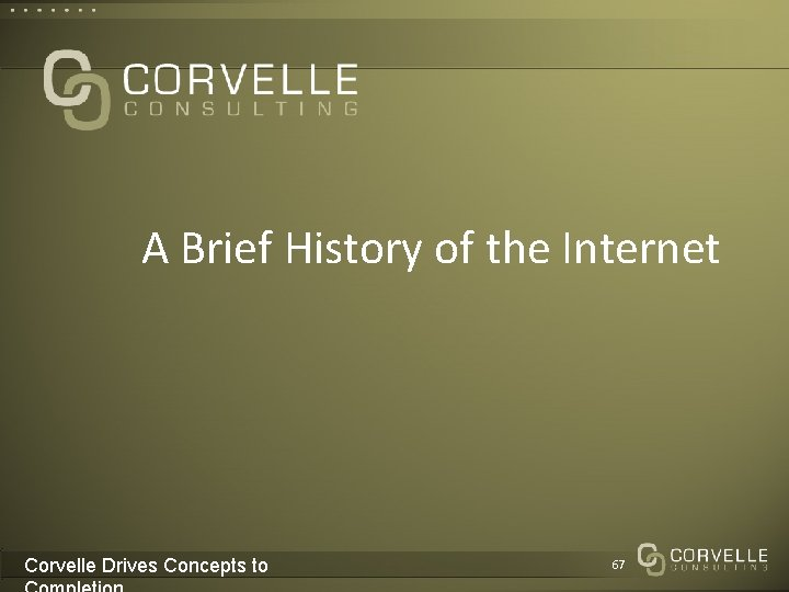 A Brief History of the Internet Corvelle Drives Concepts to 67