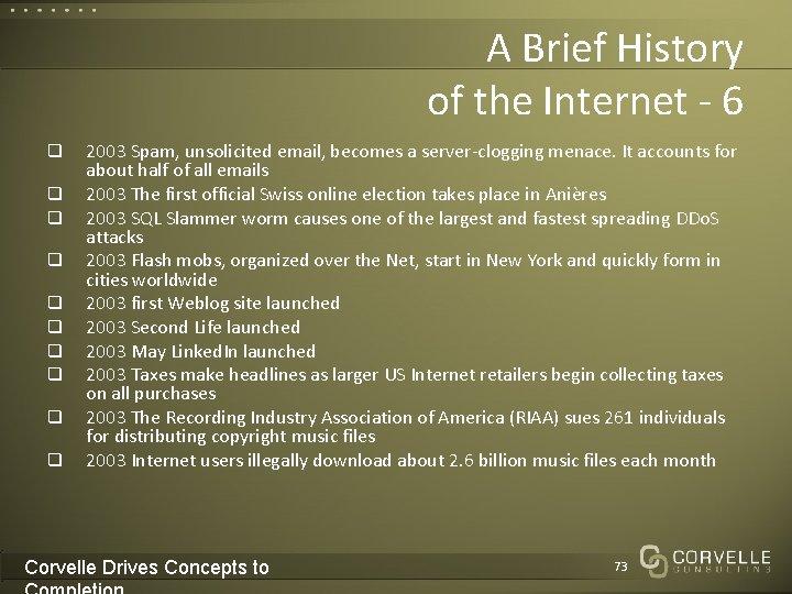 A Brief History of the Internet - 6 q q q q q 2003