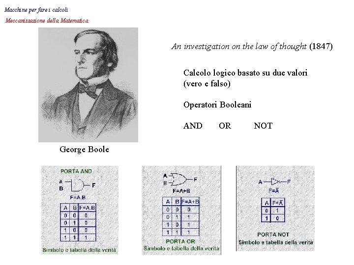 Macchine per fare i calcoli Meccanizzazione della Matematica An investigation on the law of
