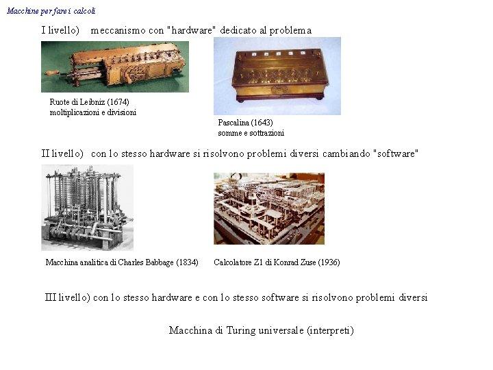 """Macchine per fare i calcoli I livello) meccanismo con """"hardware"""" dedicato al problema Ruote"""