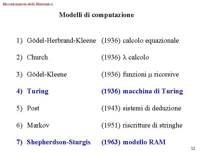 Meccanizzazione della Matematica Modelli di computazione 1) Gödel-Herbrand-Kleene (1936) calcolo equazionale 2) Church (1936)