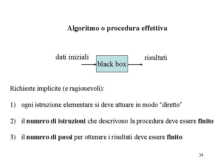 Algoritmo o procedura effettiva dati iniziali black box risultati Richieste implicite (e ragionevoli): 1)