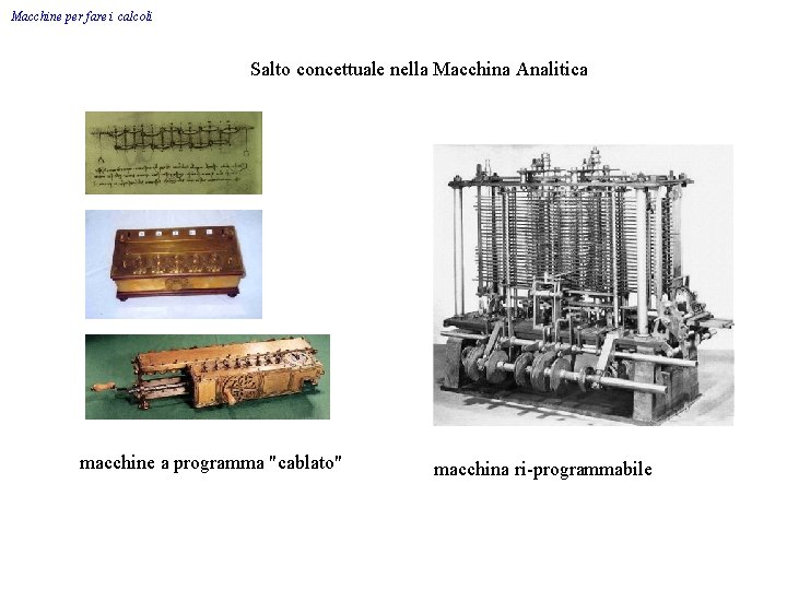 """Macchine per fare i calcoli Salto concettuale nella Macchina Analitica macchine a programma """"cablato"""""""