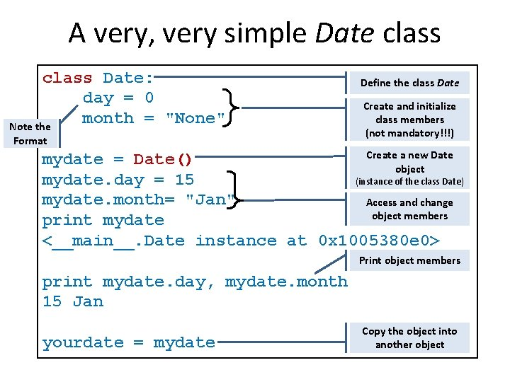 """A very, very simple Date class Date: day = 0 month = """"None"""" Note"""