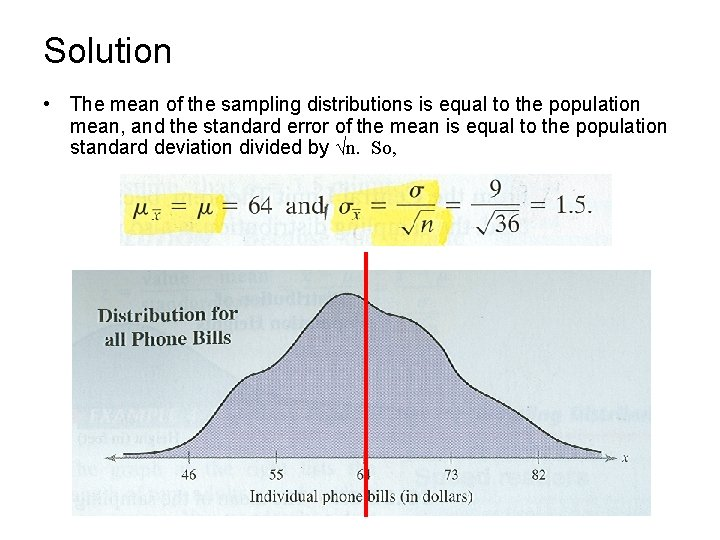 Solution • The mean of the sampling distributions is equal to the population mean,