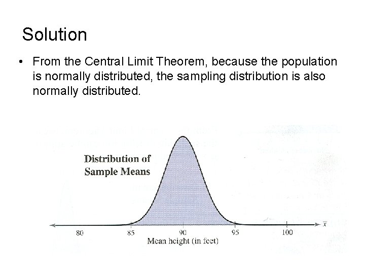 Solution • From the Central Limit Theorem, because the population is normally distributed, the