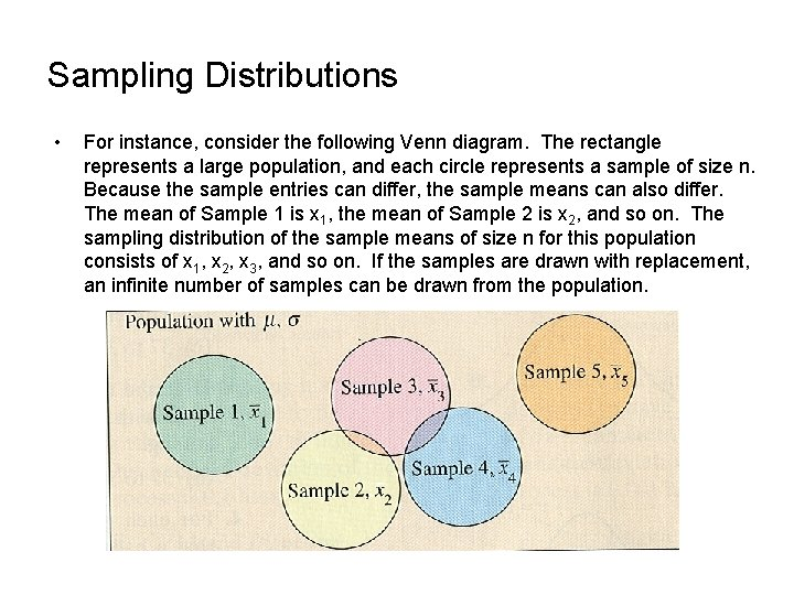 Sampling Distributions • For instance, consider the following Venn diagram. The rectangle represents a