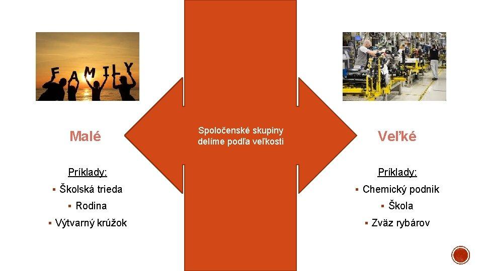 Malé Spoločenské skupiny delíme podľa veľkosti Veľké Príklady: § Školská trieda § Chemický podnik