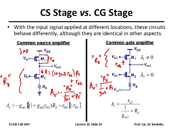 CS Stage vs. CG Stage • With the input signal applied at different locations,